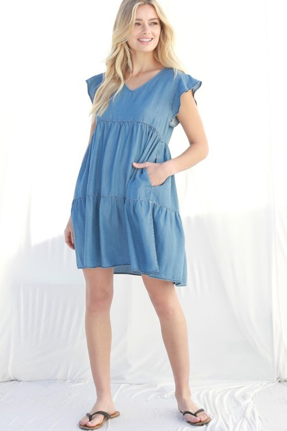 Chambray Flutter Sleeve Mini Dress - orangeshine.com