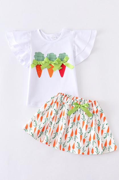 Bunny carrot skirt ruffle set - orangeshine.com