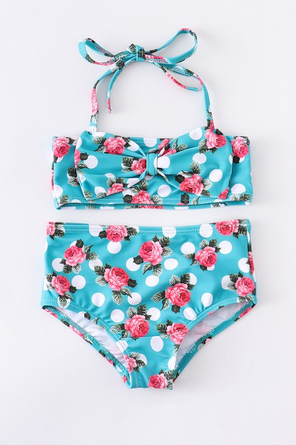 Mint floral halter mommy me swim bat - orangeshine.com