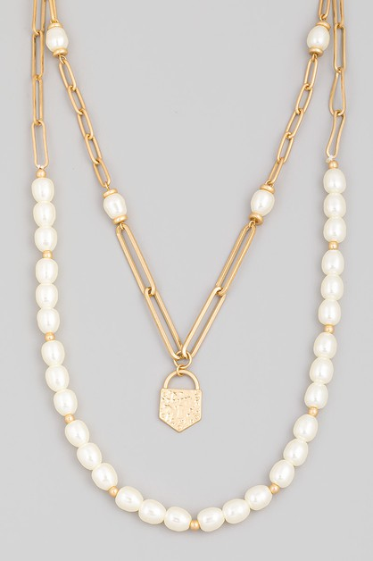Layered Pearl Beaded Lock Charm Neck - orangeshine.com