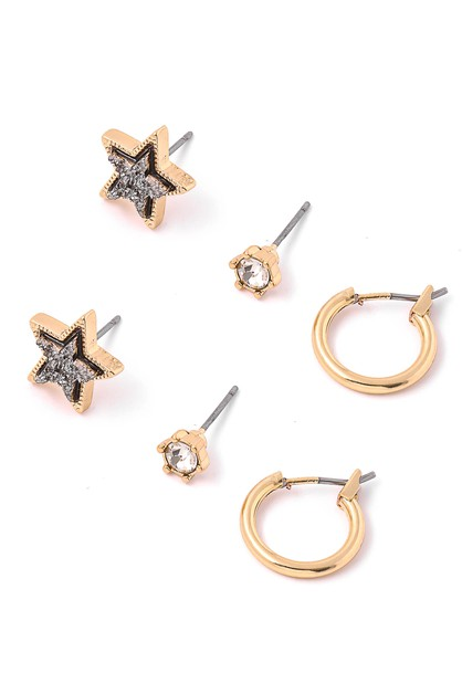 Mini Crystal Star Stud Earrings Set - orangeshine.com