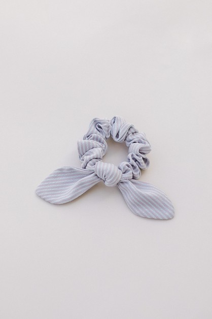 Lilac Stripe Bow Scrunchie - orangeshine.com