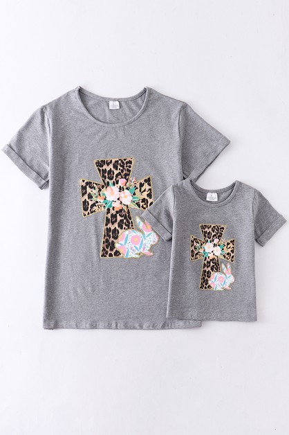 Cross floral bunny shirt For Adult - orangeshine.com