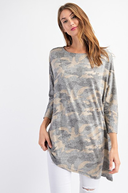 Camo Print Tri-Blend Loose Fit Top - orangeshine.com