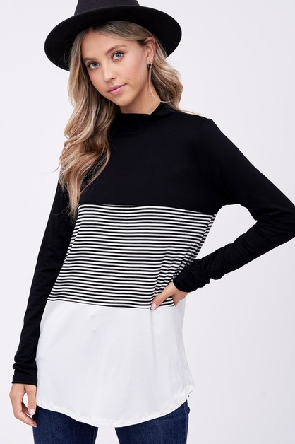 PIN STRIPE JERSEY COLOR BLOCK TOP - orangeshine.com