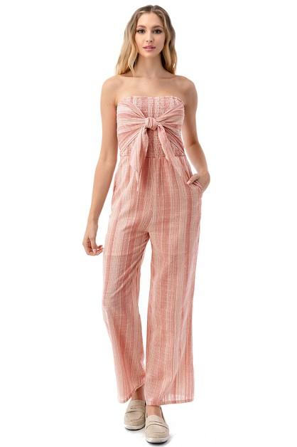 Sleeveless Smocked Self-Tie Jumpsuit - orangeshine.com