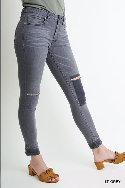 Denim Stretch Knee Cutouts - orangeshine.com
