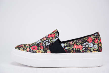 Floral Print  Slip On Sneakers - orangeshine.com