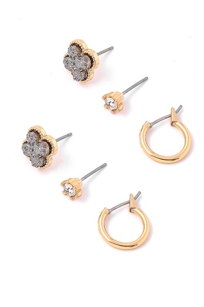 Crystal Clover Stud Earrings Set - orangeshine.com