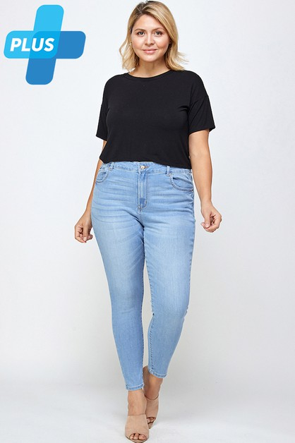 High Waist Skinny Jeans Plus Size - orangeshine.com