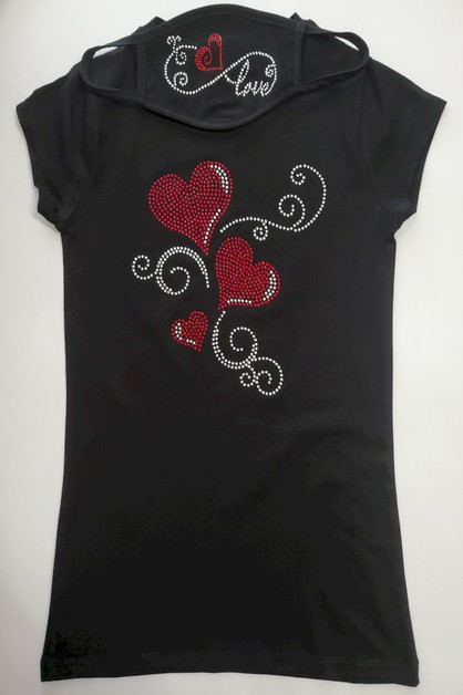 Red Hearts Rhinestone Shirts - orangeshine.com
