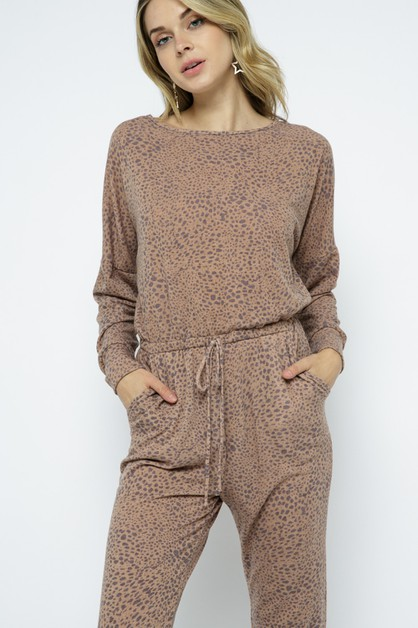 Animal print tie back jumpsuit - orangeshine.com
