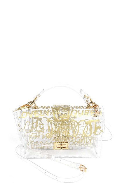 GRAFFITI TRANSPARENT CROSSBODY BAG - orangeshine.com