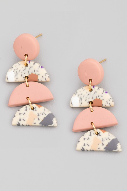 Tiered Semicircle Drop Earrings - orangeshine.com