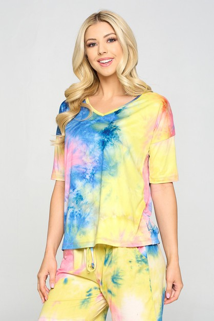 Tie-Dye Print Dropped Shoulder T-Shi - orangeshine.com