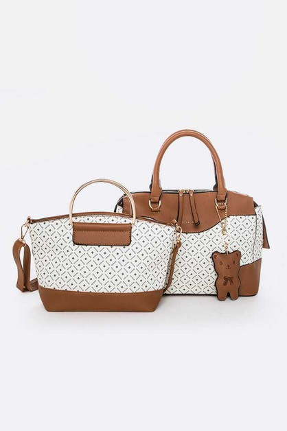 2 In 1 Logo Bear Charm Bag Set - orangeshine.com
