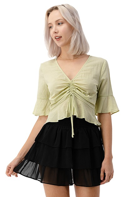 Ruched Drawstring Cotton Crop Top - orangeshine.com