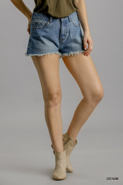 Denim Shorts with Unfinished Hem - orangeshine.com