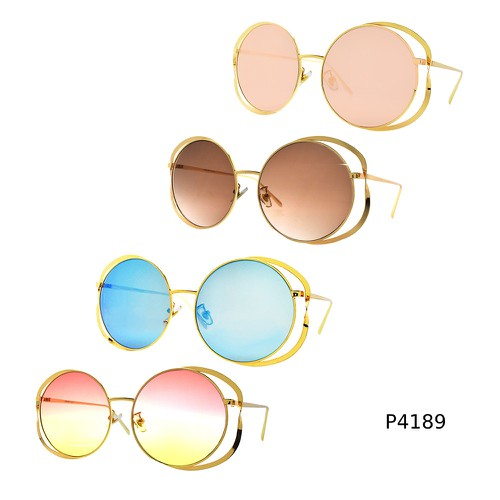 Double Circle Round Metal Sunglasses - orangeshine.com