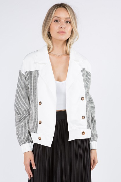 Contrast Paneled Cotton Jacket - orangeshine.com