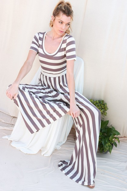 Stripes Flare Jumpsuit - orangeshine.com
