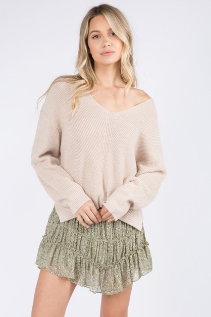 Easy Casual V-Neck Pullover Sweater - orangeshine.com