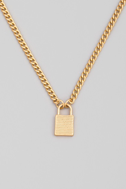 Chain Link Padlock Pendant Necklace - orangeshine.com