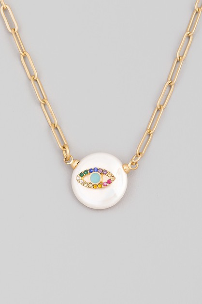 Round Pearl Eye Pendant Necklace - orangeshine.com