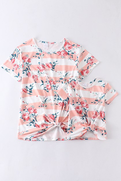 Floral stripe mom me shirt For Adult - orangeshine.com