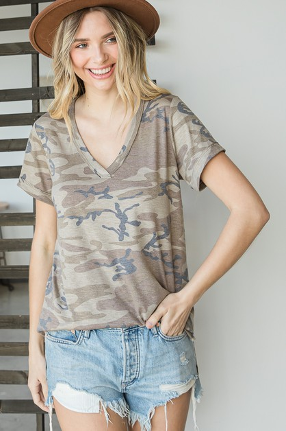 Casual Camo Print T-shirt Top - orangeshine.com