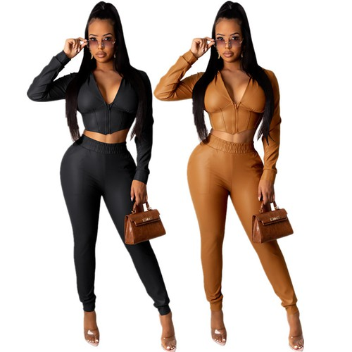 Sexy PU Crop Top Pants Fashion Set - orangeshine.com