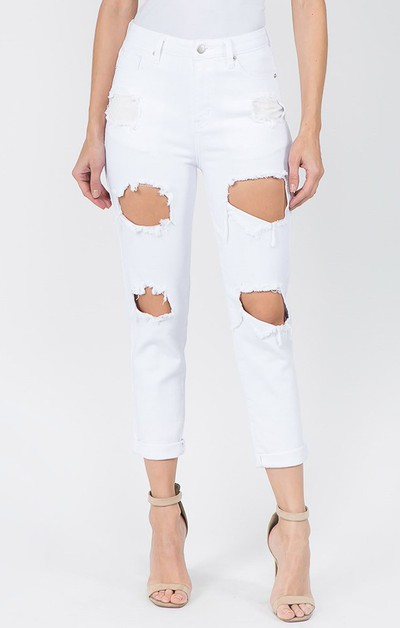 Destroyed High Rise Boyfriend Jeans - orangeshine.com
