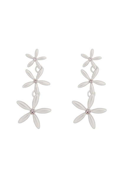 3 FLOWER LINK DROP EARRINGS - orangeshine.com