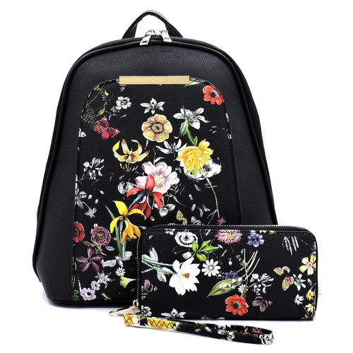 Flower Printed 2-in-1 Backpack - orangeshine.com