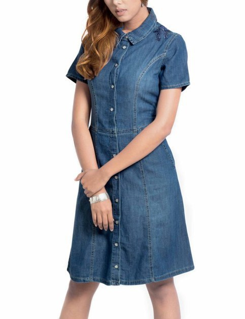 Womens Embroidered Denim Dress - orangeshine.com