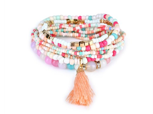 Trendy stacked beaded bracelets - orangeshine.com