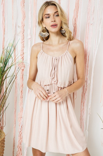 Ruffle Dress With Tassel - orangeshine.com