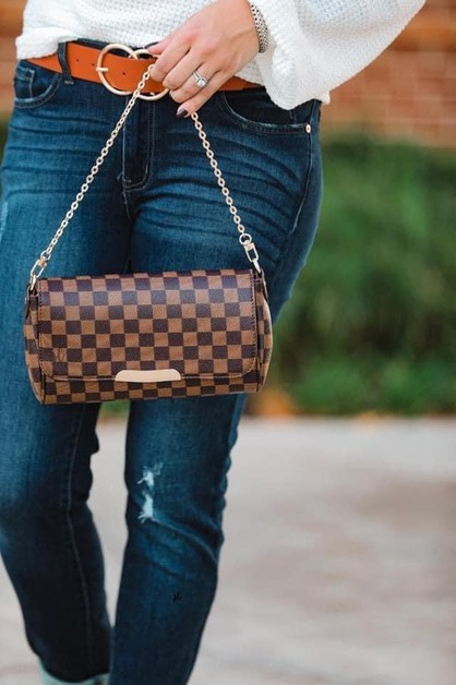 Checkered handbag crossbody - orangeshine.com