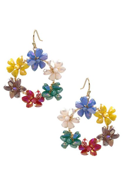 FLOWER ROUND COLOR STONE HOOK EARRIN - orangeshine.com