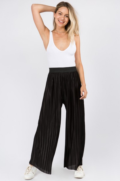 Pleat Textured Fabric Pants - orangeshine.com