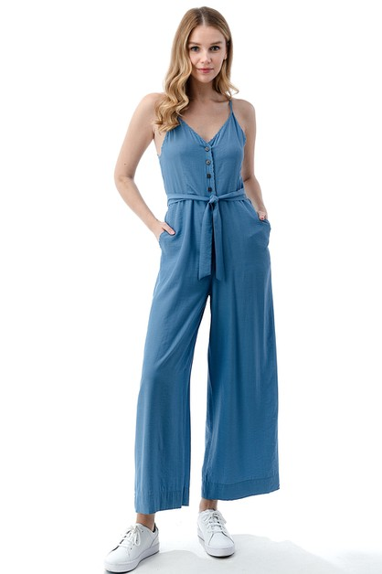 Tie-Front Scalloped Hem Jumpsuit - orangeshine.com
