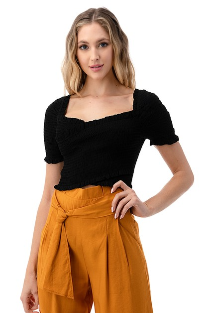 Cross Ruched Cropped Top - orangeshine.com
