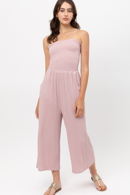 Ruffled Smocked Wide Leg Jumpsuit - orangeshine.com