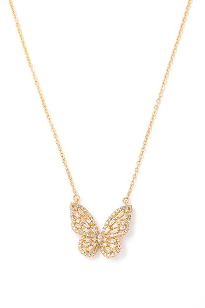 Studded Butterfly Charm Necklace - orangeshine.com