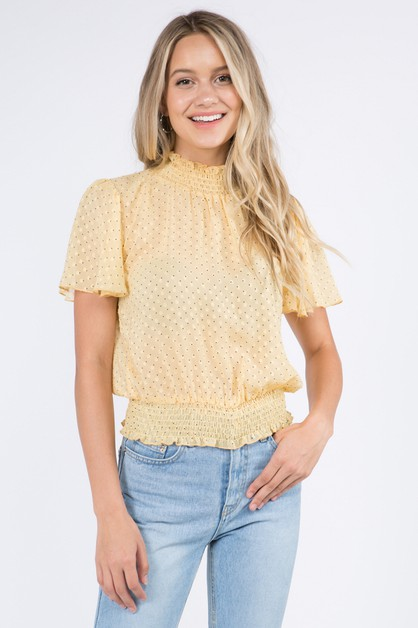 Polka Dot Smocking Detailed Blouse - orangeshine.com