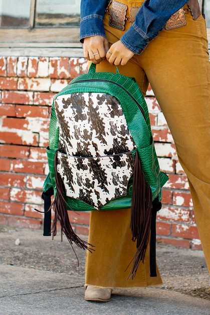 Green And Cowhide Backpack - orangeshine.com