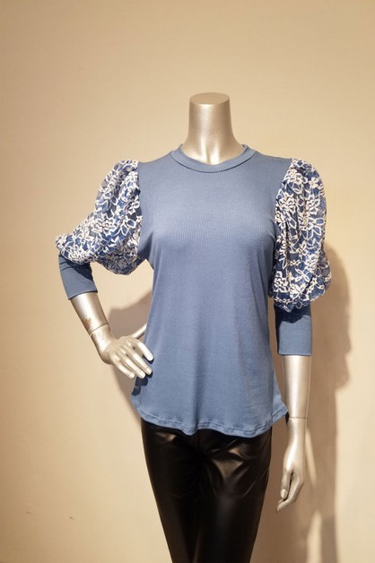 puff sleeve with lace top - orangeshine.com