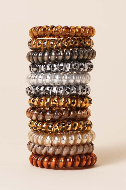 Leopard Spiral Hair Ties - orangeshine.com