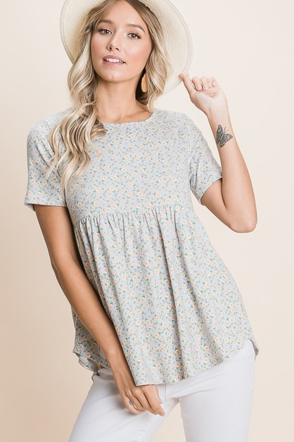 FLORAL BABY DOLL TOP - orangeshine.com