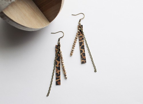 Leather Leopard - Metallic Earrings - orangeshine.com